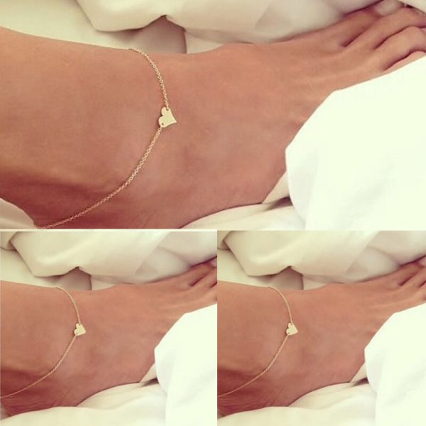 ANK01 Heart Design Chain Anklet – Gold2