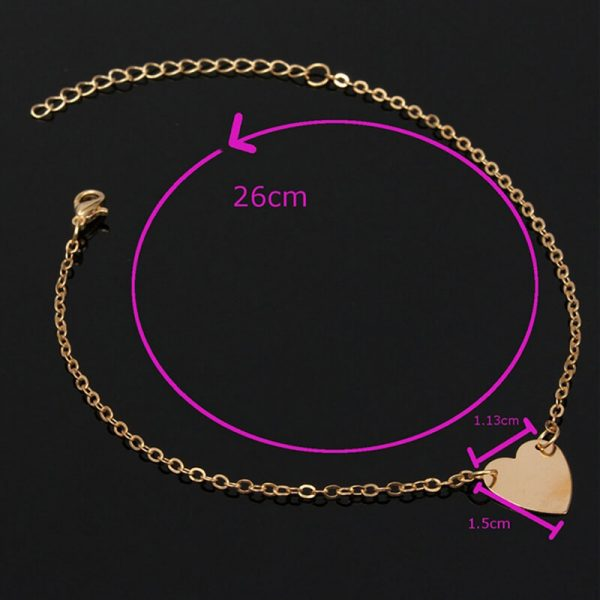 ANK01 Heart Design Chain Anklet – Gold3