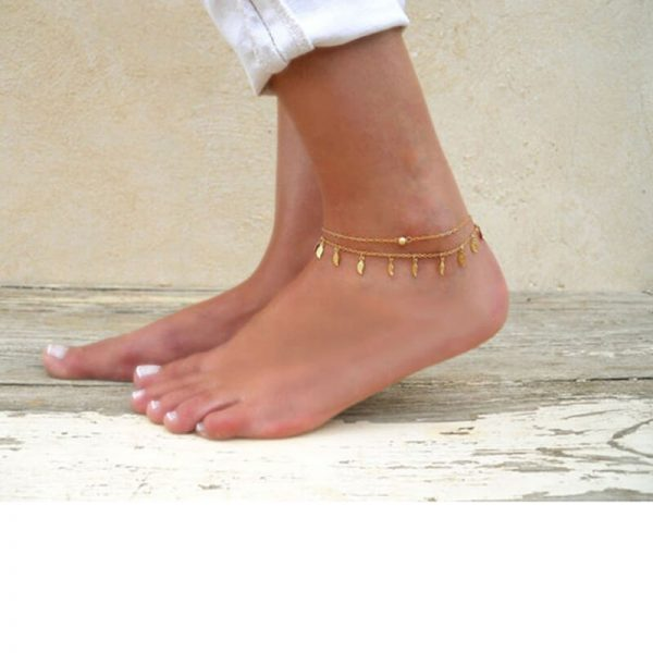 ANK03 Double Chain Leaf Anklet Gold – Adjustable