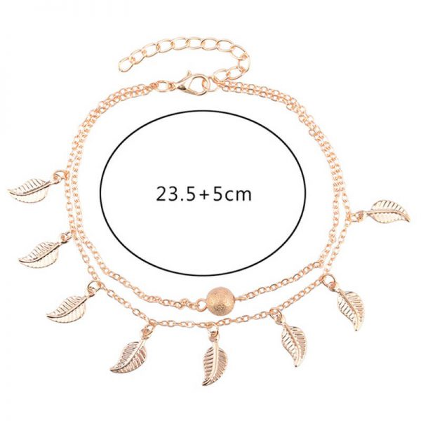 ANK03 Double Chain Leaf Anklet Gold – Adjustable2