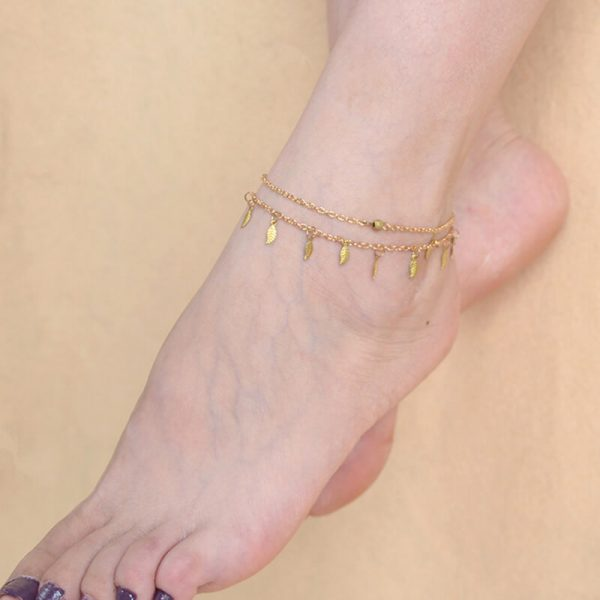 ANK03 Double Chain Leaf Anklet Gold – Adjustable3