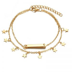 Gold Star Design Anklet Adjustable
