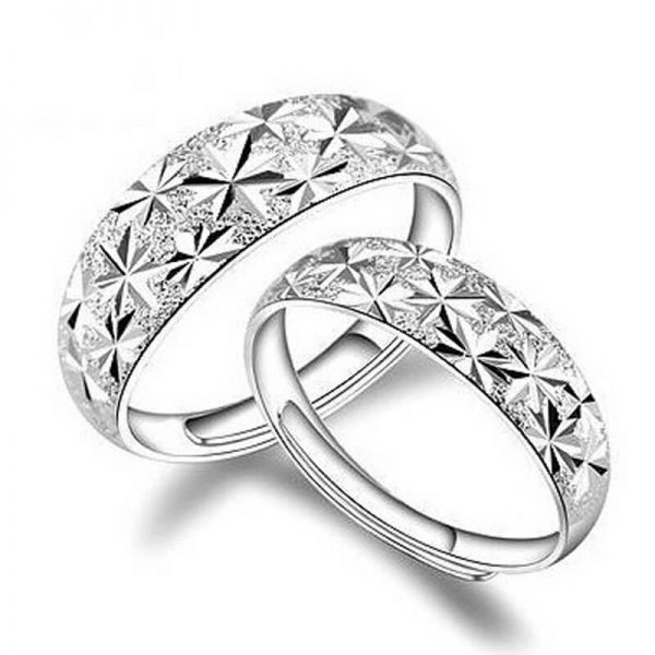 AR06 – 2 Pack – Silver Plated Star Curved Ring – Adjustable2