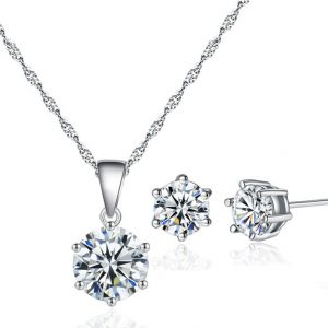 Zircon stud Earring and Necklace Set - Silver