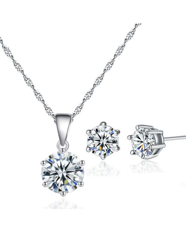 AS19 Zircon stud Earring and Necklace Set – Silver 1