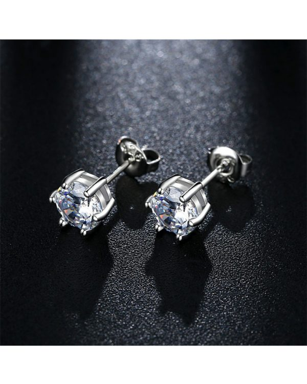 AS19 Zircon stud Earring and Necklace Set – Silver 3