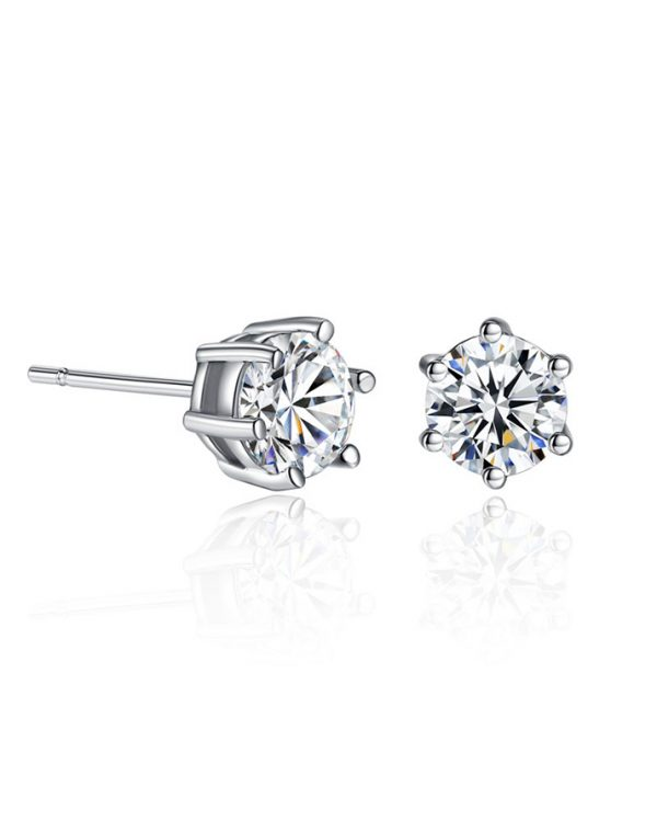 AS19 Zircon stud Earring and Necklace Set – Silver 4