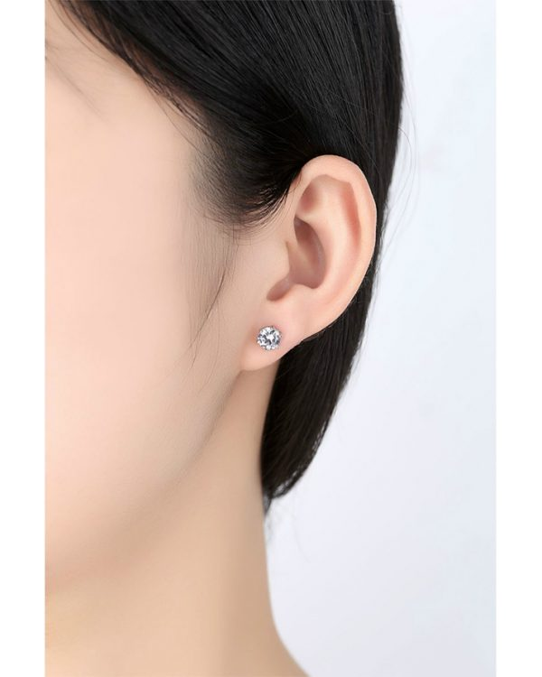 AS19 Zircon stud Earring and Necklace Set – Silver 6