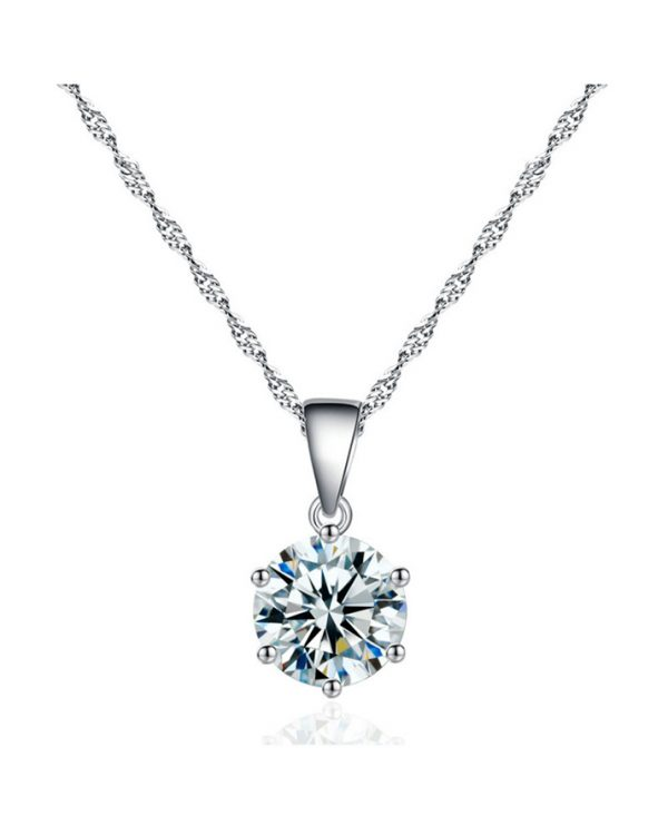 AS19 Zircon stud Earring and Necklace Set – Silver