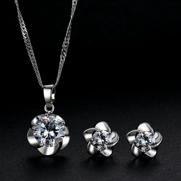 AS20 Zircon stud Earring and Necklace Set – Silver2