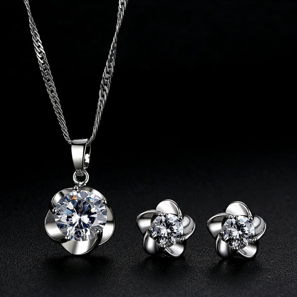 Zircon stud Earring and Necklace Set - Silve