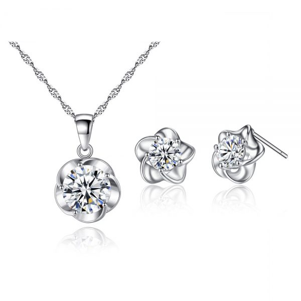 AS20 Zircon stud Earring and Necklace Set – Silver6