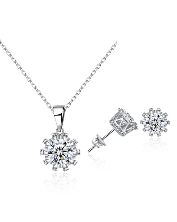 AS21 Zircon stud Earring and Necklace Set – Silver 1