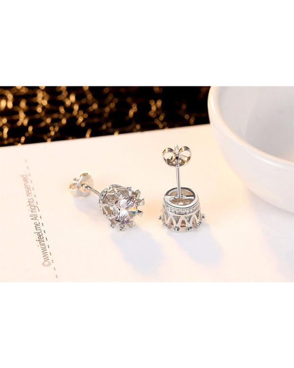 AS21 Zircon stud Earring and Necklace Set – Silver 3