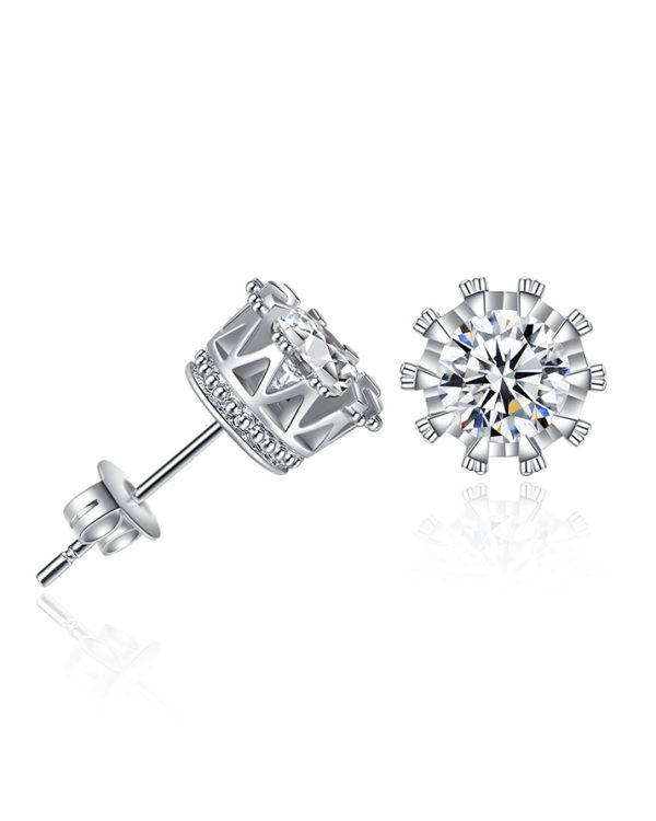 AS21 Zircon stud Earring and Necklace Set – Silver 4