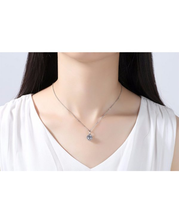 AS21 Zircon stud Earring and Necklace Set – Silver 5