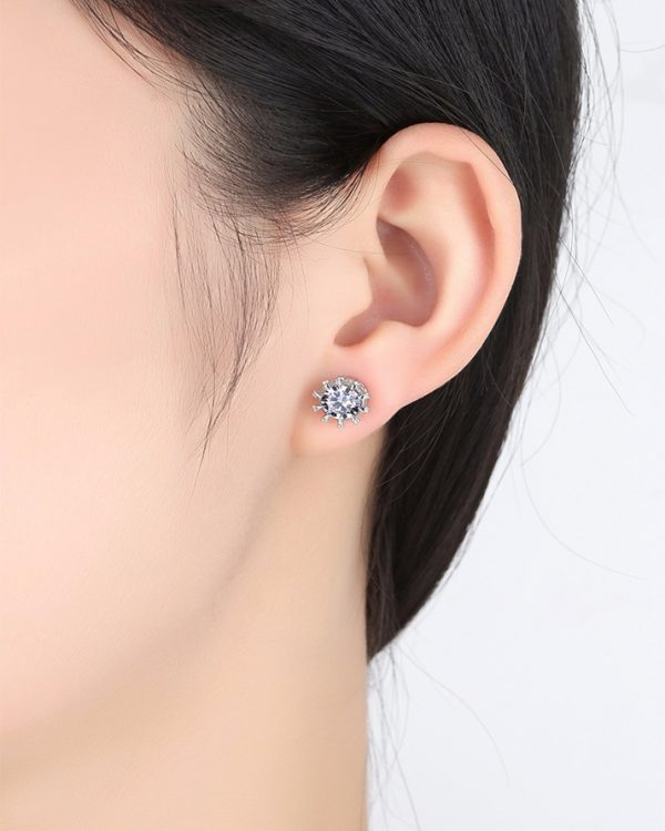 AS21 Zircon stud Earring and Necklace Set – Silver 6