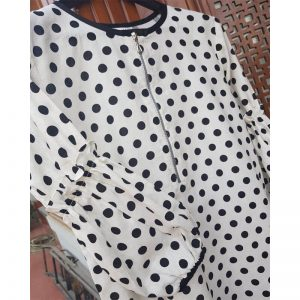 irish cotton polka dot kurta black white