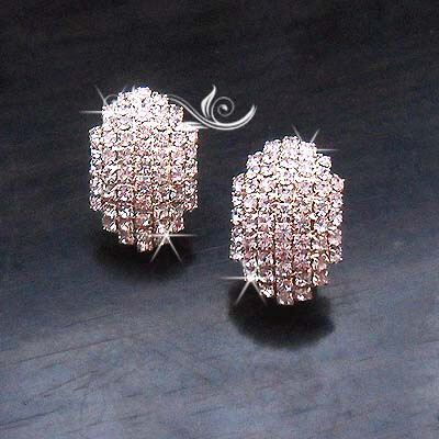 AE43 Gold Diamante Glowing Earring