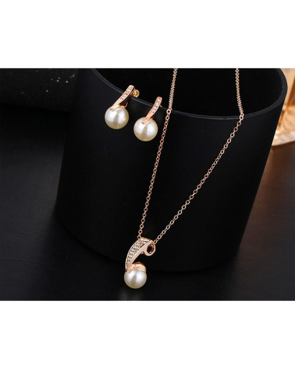 Gold Earring And Necklace Jewellry Set With Pearl1