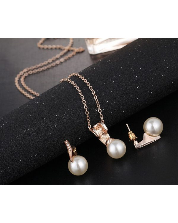 Gold Earring And Necklace Jewellry Set With Pearl2