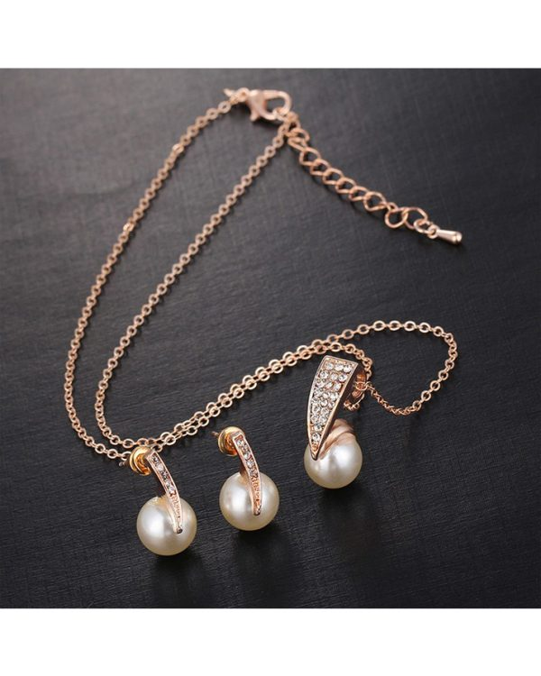 Gold Earring And Necklace Jewellry Set With Pearl3