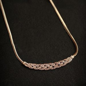 Gold Plated Trendy Necklace With Stone Decoration