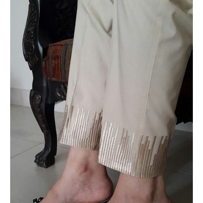 Beige Trouser With Beige Embroidery