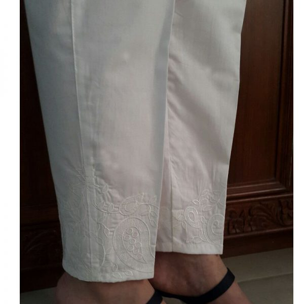 KT16 White Trouser With White Embroidery1