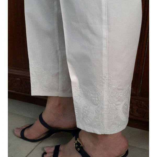 KT16 White Trouser With White Embroidery2