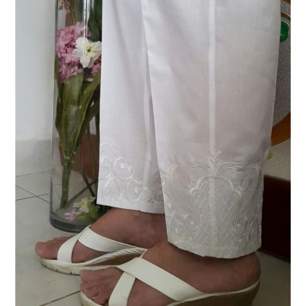 KT17 White Trouser With White Embroidery