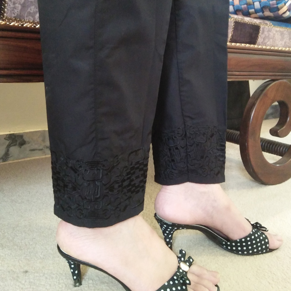 Black Trouser With Black Embroidery