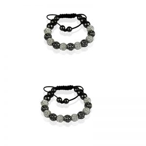 White-black Shamballa Bracelet Crystal-Disco Ball Friendship Bead
