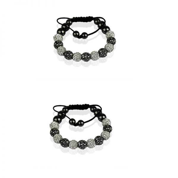 LSB0013- White-black Shamballa Bracelet Crystal-Disco Ball Friendship Bead