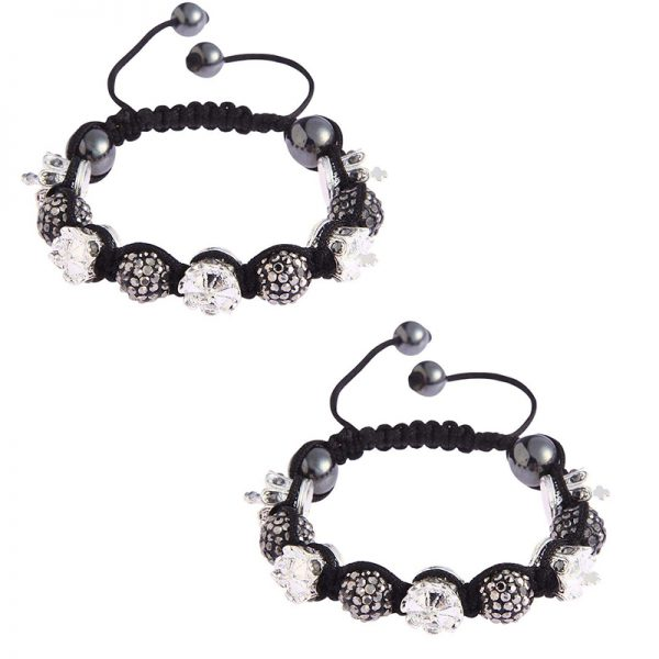 LSB0031- black Crown Black Crystal Disco Ball Bead Bracelet