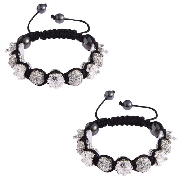 LSB0031- white Crown Black Crystal Disco Ball Bead Bracelet