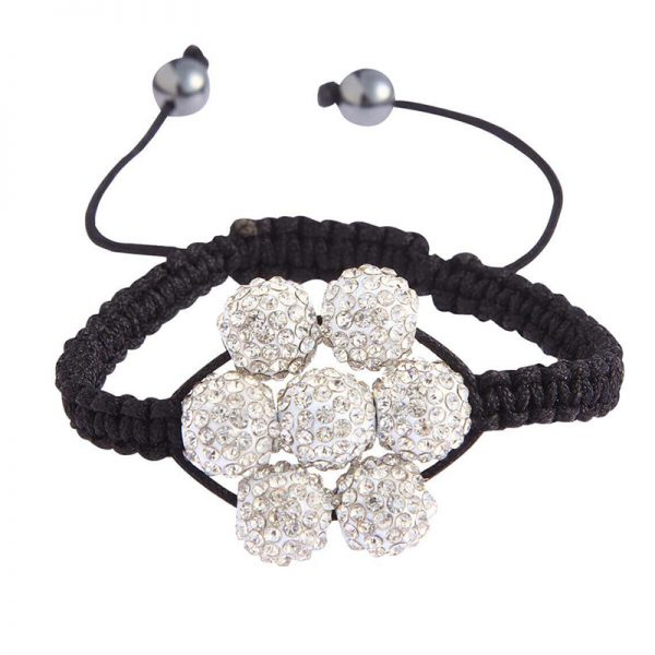 LSB0032-White Shamballa Bracelet Crystal-Disco Ball Friendship Bead