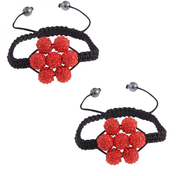 LSB0032-red Shamballa Bracelet Crystal-Disco Ball Friendship Bead