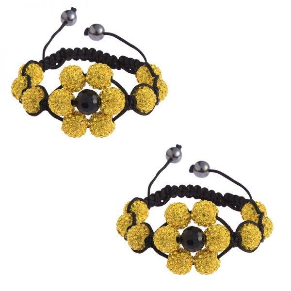 LSB0033-yellow Shamballa Bracelet Crystal-Disco Ball Friendship Bead