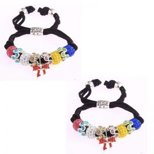Multi Colour Crystal Bracelet With Butterfly Charm