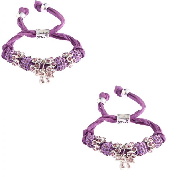 LSB0034- purple Colour Crystal Bracelet With Butterfly Charm