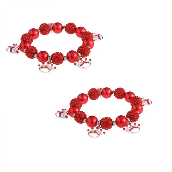 LSB0039-Red Crystal Bracelet With Crown Charms