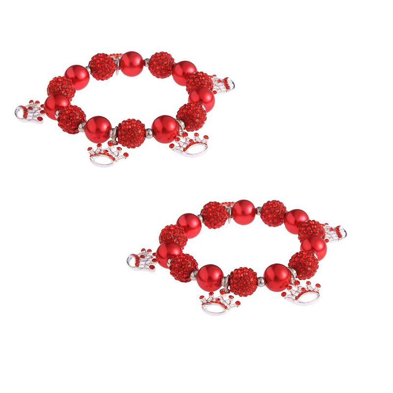Red Crystal Bracelet With Crown Charms