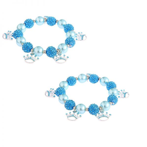 LSB0039- teal Crystal Bracelet With Crown Charms