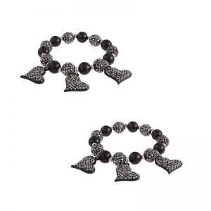 Black Crystal Bracelet With Heart Charms