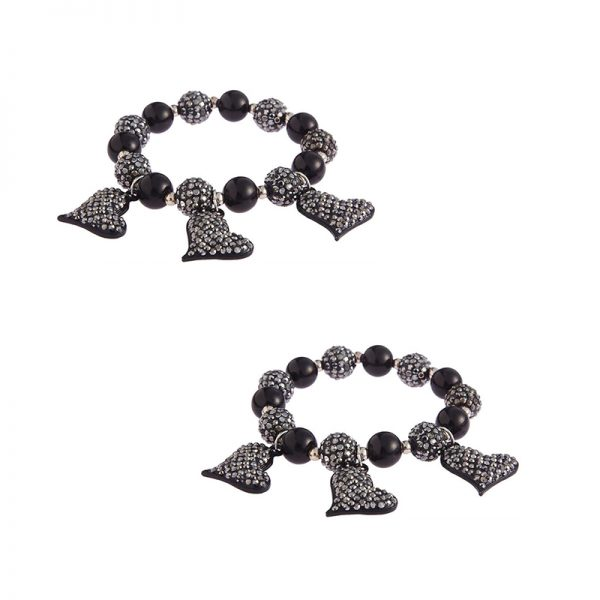 LSB0041- Black Crystal Bracelet With Heart Charms