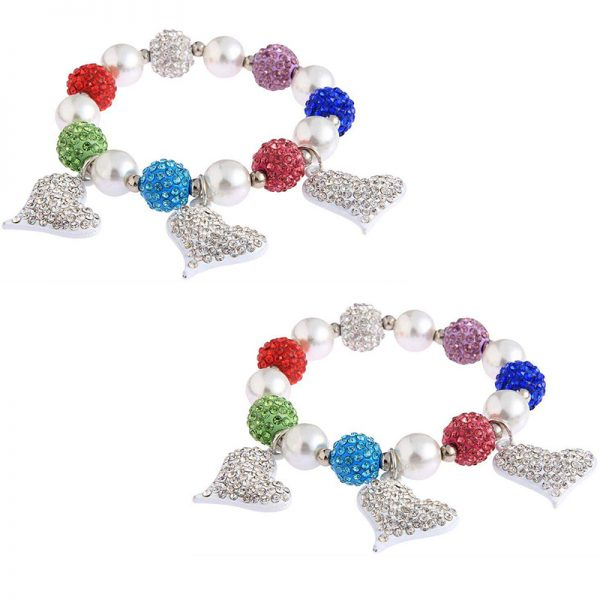 LSB0041- multi Crystal Bracelet With Heart Charms