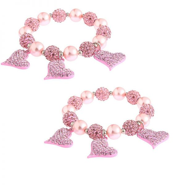 LSB0041- pink Crystal Bracelet With Heart Charms
