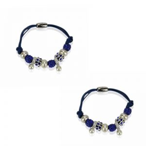 blue Crystal Bracelet With Pearl Charm