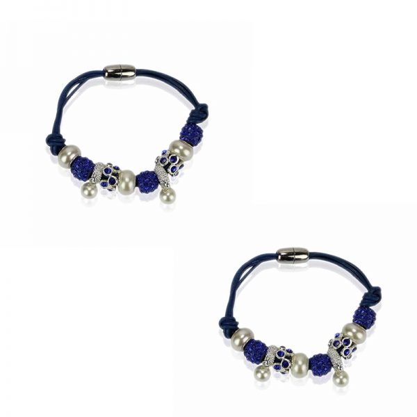LSB0059- blue Crystal Bracelet With Pearl Charm